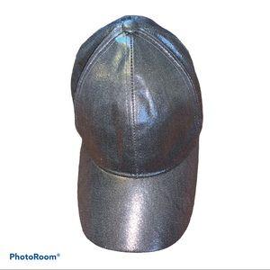 David and Young Silver Lame Metallic Baseball Hat